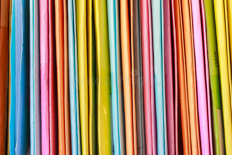 Colorful files. Are arranged in a box stock photos
