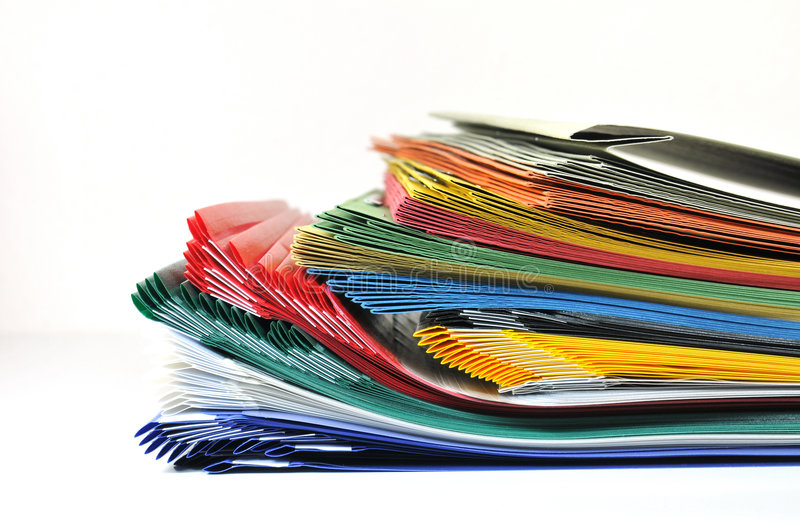 Colorful files and folders stock images