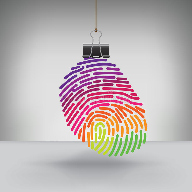 A Colorful Fingerprint Hung by a Binder Clip royalty free illustration