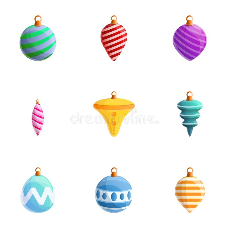 Colorful fir tree toys icon set, cartoon style. Colorful fir tree toys icon set. Cartoon set of 9 colorful fir tree toys vector icons for web design isolated on vector illustration