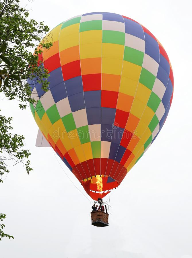 The colorful fire balloon. In sky stock photography