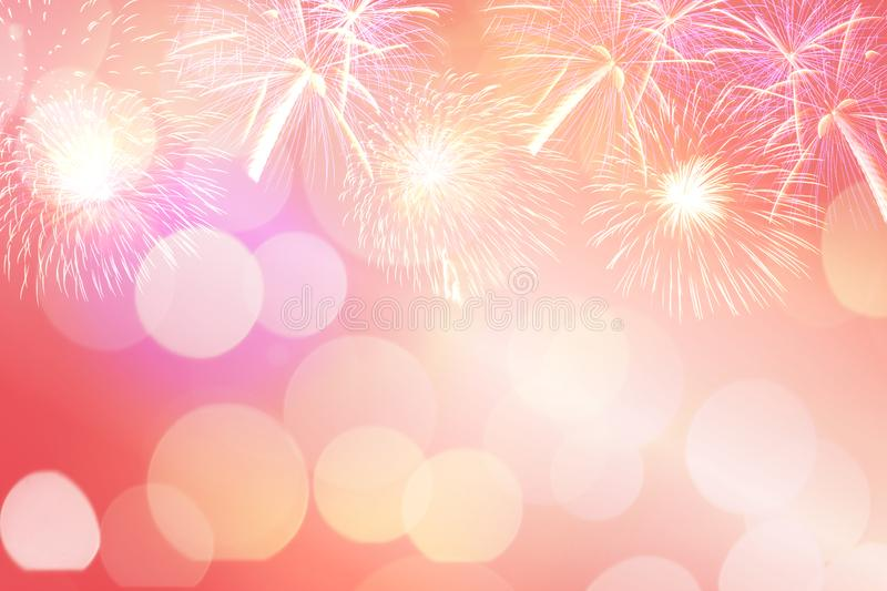 Colorful firework and blurred bokeh light with copy space in Christmas and New Year. Abstract background holiday concept royalty free stock photos