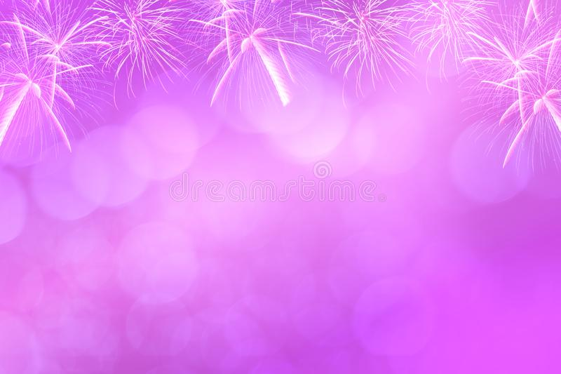 Colorful firework and blurred bokeh light with copy space in Christmas and New Year. Abstract background holiday concept royalty free stock photography