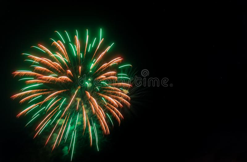 Colorful firework with copy space for New Year celebration, Abstract holiday background. Abstract colorful firework for New Year celebration holiday with copy stock photography