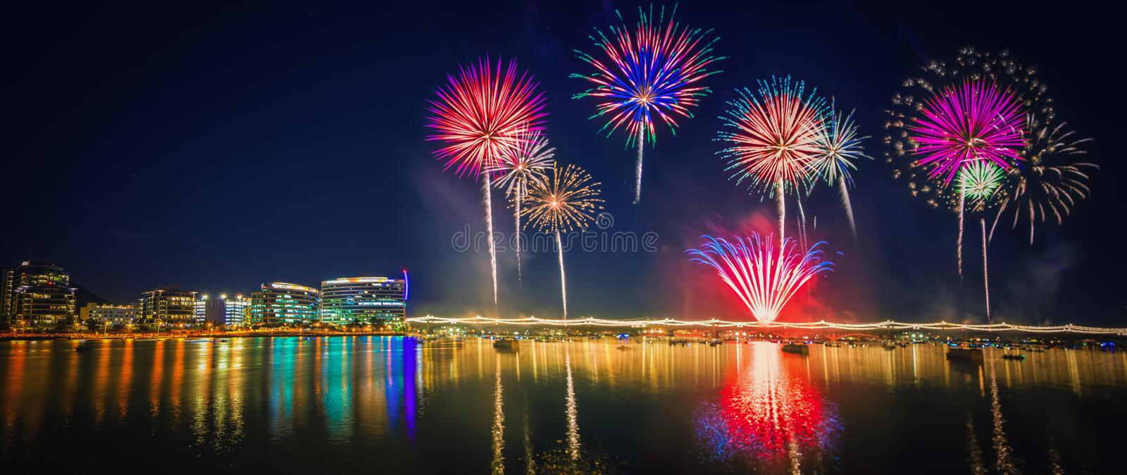 Colorful firework over Tempe lake royalty free stock images