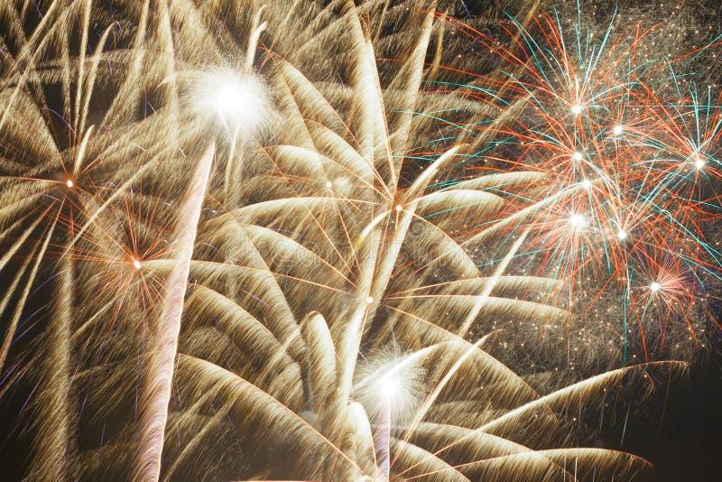 Colorful firework streaks stock photos