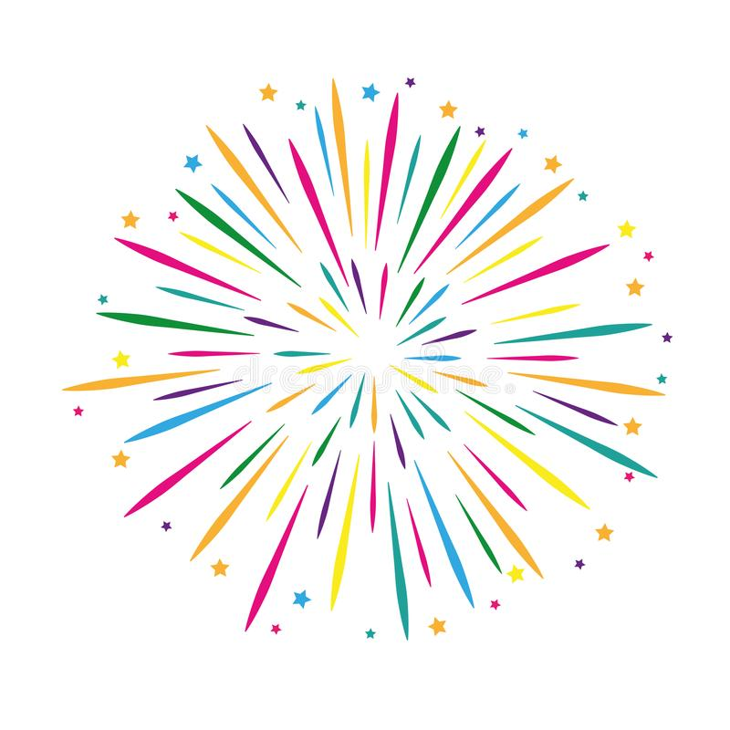Colorful firework template party design royalty free illustration
