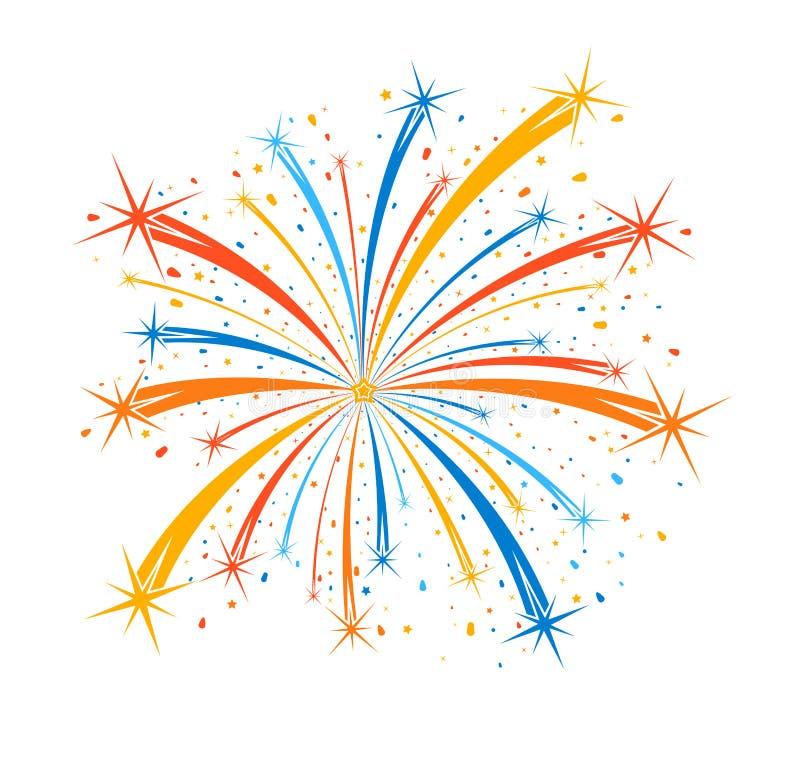 Colorful firework on white background royalty free illustration