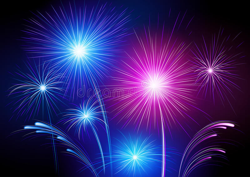 Colorful fireworks. Colorful neon fireworks exploding in black sky royalty free illustration