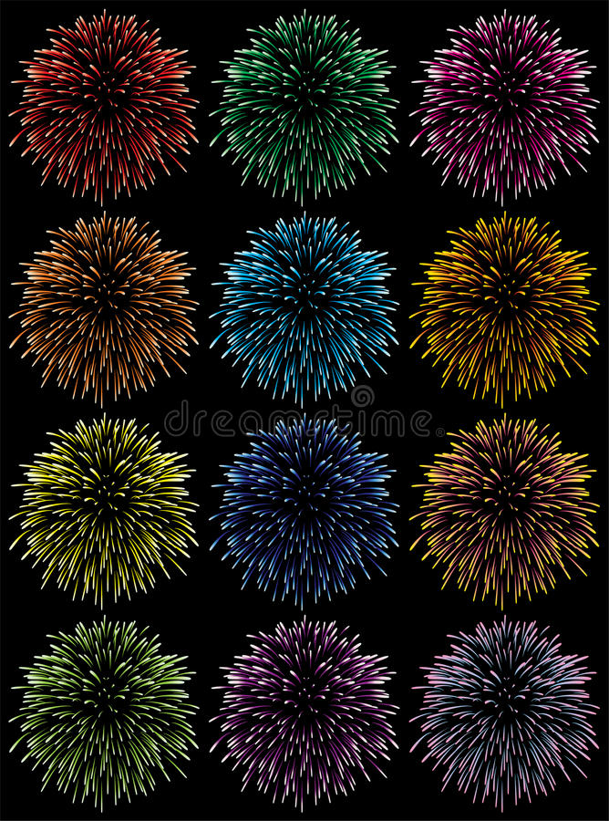Colorful fireworks. Vector set of colorful fireworks on black background royalty free illustration