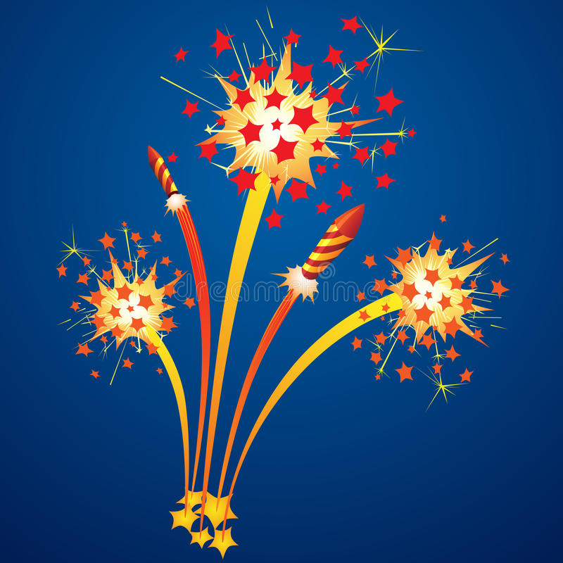 Colorful fireworks. And flying rockets in the night sky vector illustration