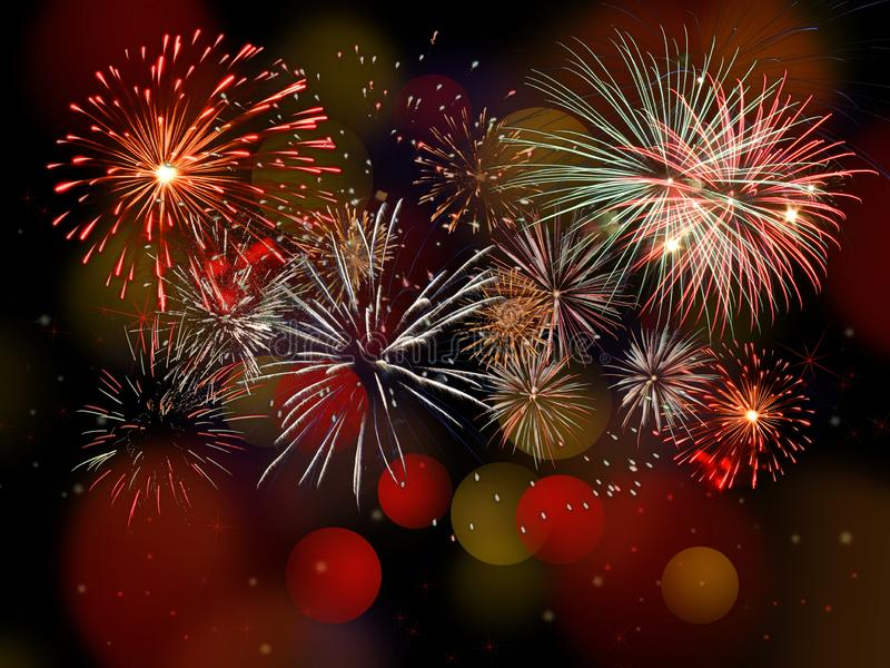 Colorful fireworks background with bokeh stock photos
