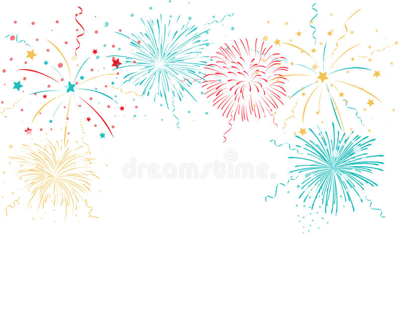 Colorful fireworks background. Illustration of Colorful fireworks background isolated on white vector illustration