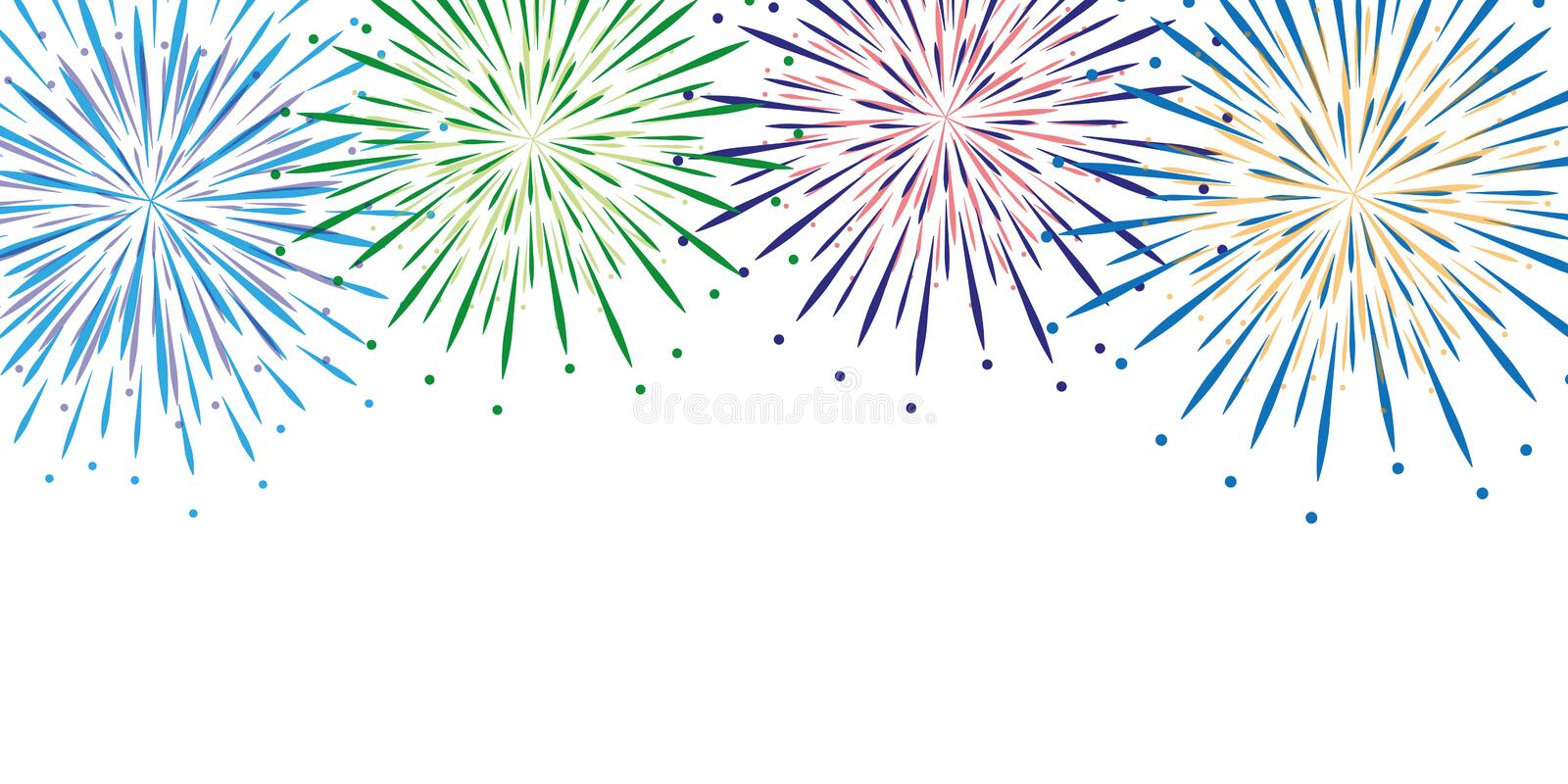 Colorful fireworks background isolated royalty free illustration