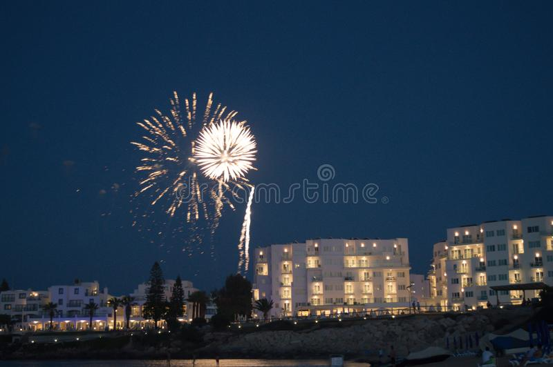 Colorful fireworks on the beach royalty free stock photo