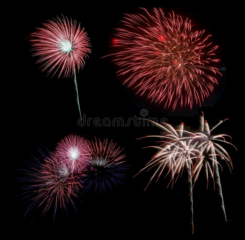 Colorful Fireworks on black background stock images