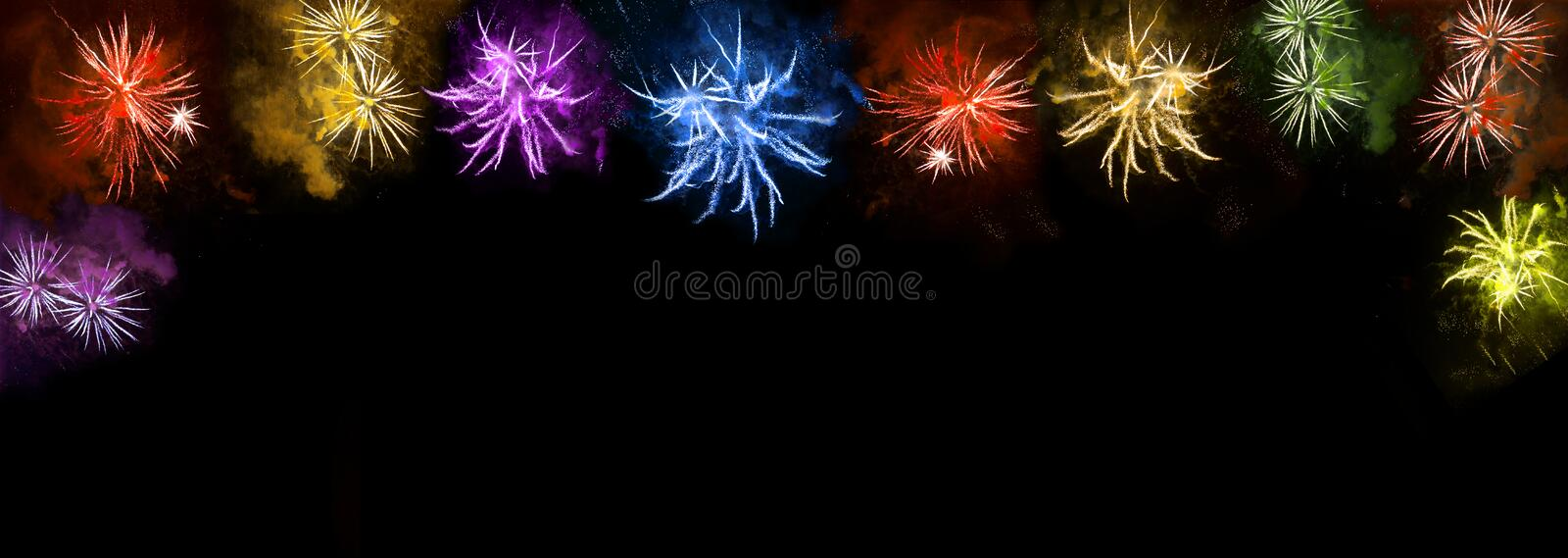 Colorful fireworks on black background. Holidays banner royalty free stock photo