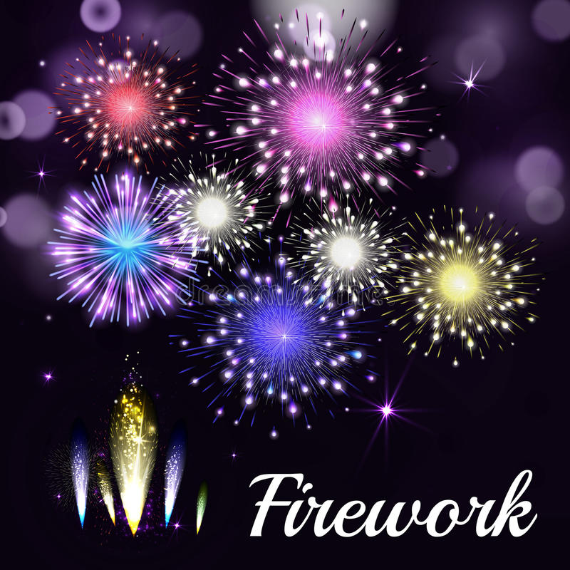 Colorful fireworks on black background. Night sky with stars and. Salute for festival in vector. Blue, green, yellow and red fireworks and explosion royalty free illustration