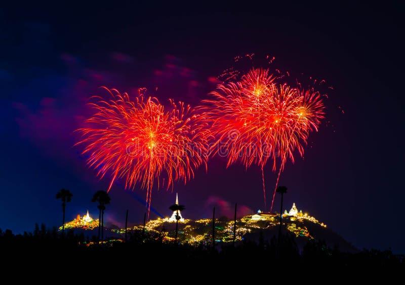 Colorful fireworks on the black sky background Phra Nakhon Khiri Historical Park on Feb 12th, 2016 royalty free stock photo