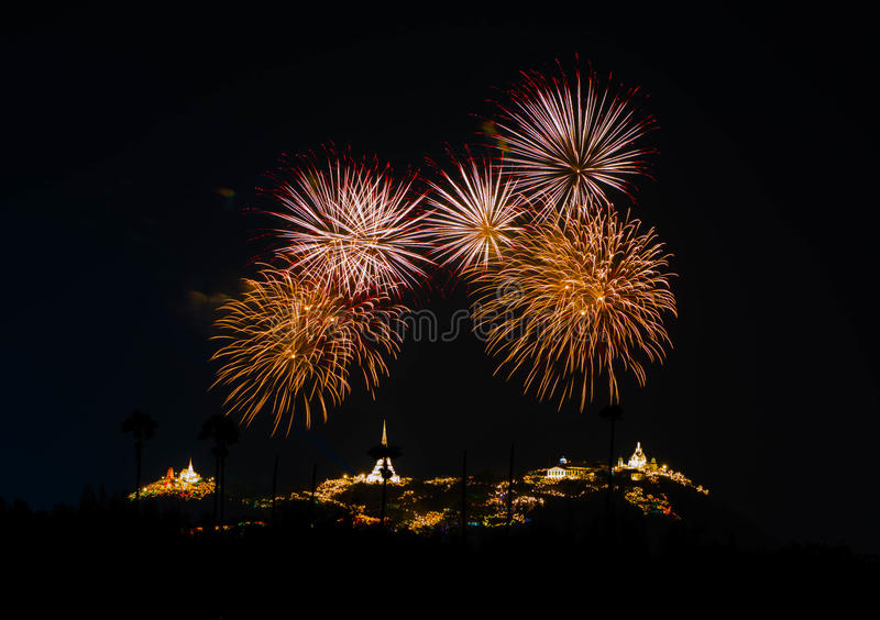 Colorful fireworks on the black sky background Phra Nakhon Khiri Historical Park on Feb 12th, 2016 royalty free stock photography