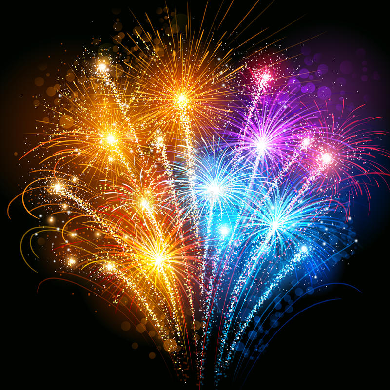 Colorful fireworks. Bright colorful fireworks against the dark sky royalty free illustration