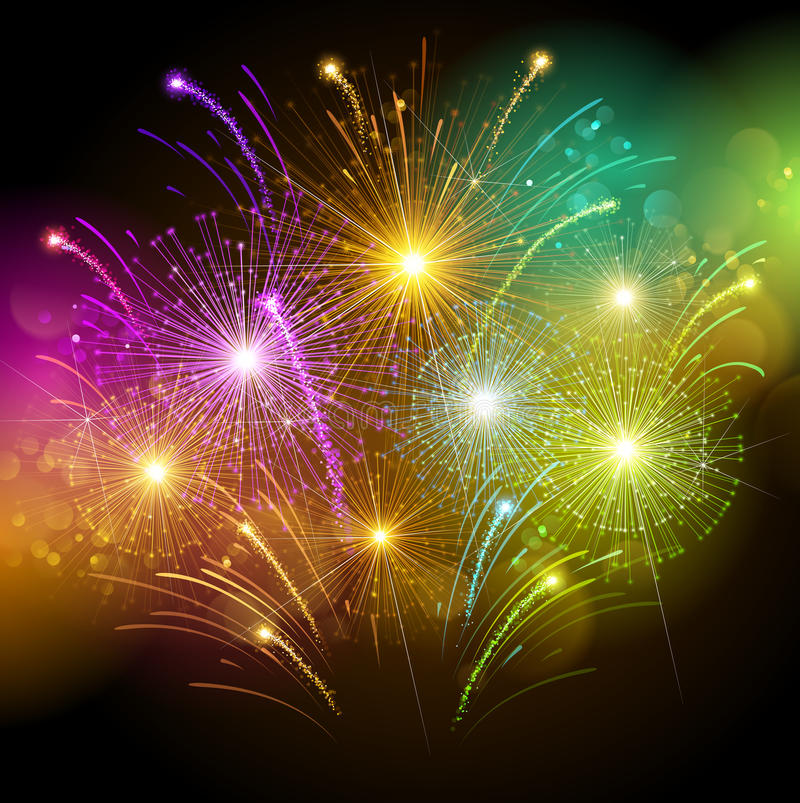 Colorful fireworks. Bright colorful fireworks against the dark sky. Vector illustration royalty free illustration