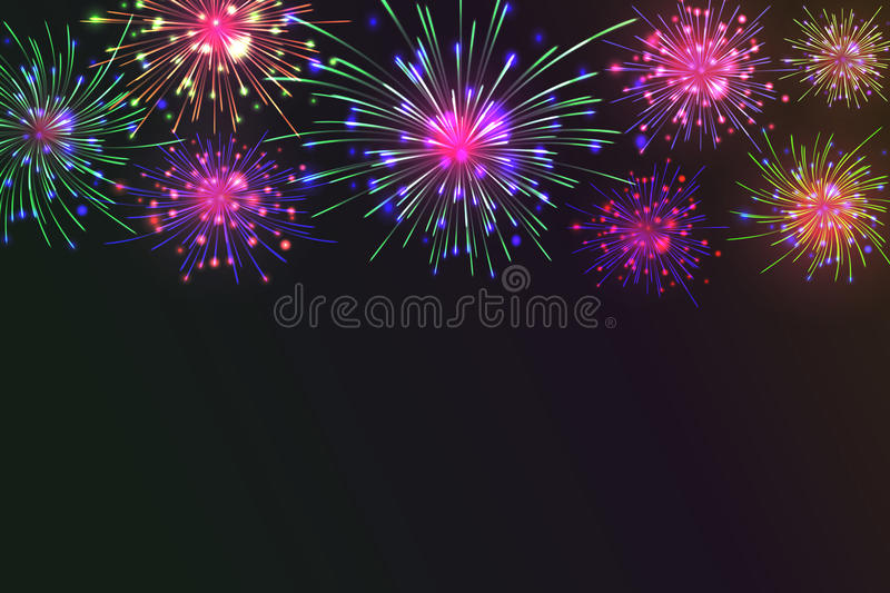 Colorful Fireworks. Brightly Colorful Fireworks on twilight background. Vector illustration for your graphic design royalty free illustration