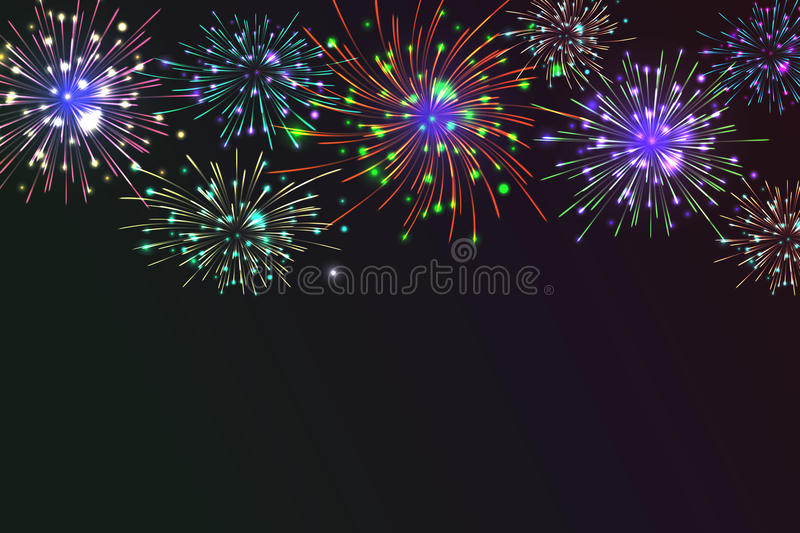 Colorful Fireworks. Brightly Colorful Fireworks on twilight background. Vector illustration for your graphic design stock illustration