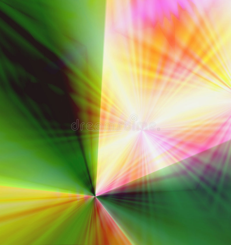 Colorful Fireworks Burst. Bright and vivid colorful burst of wavy laser light rays like spectacular fireworks as an abstract background design stock illustration