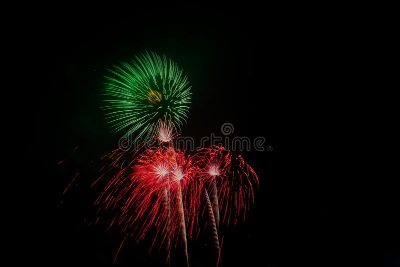 Fireworks Celebration at night on Background royalty free stock photo