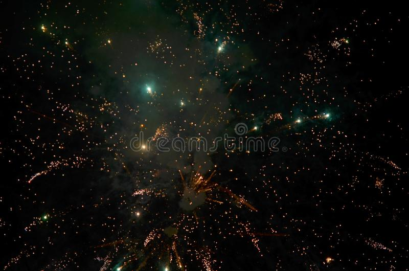 Colorful fireworks on dark  background. royalty free stock photography