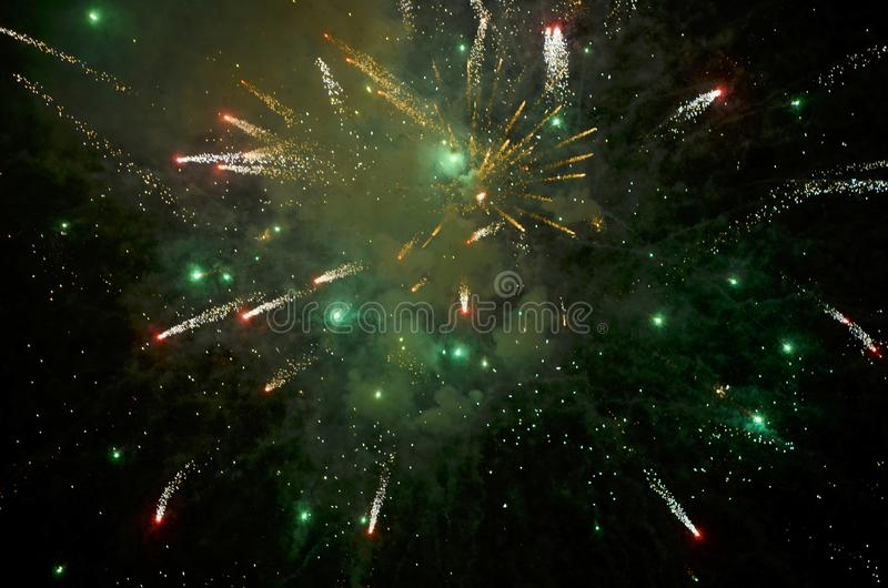 Colorful fireworks on dark  background. royalty free stock photo