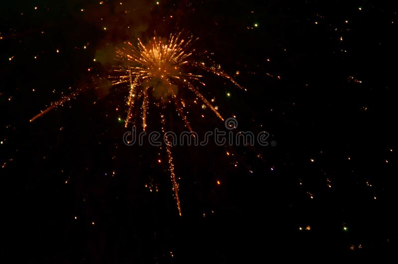 Colorful fireworks on dark  background. stock photos