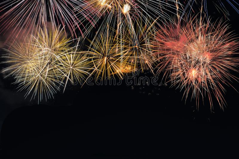 Colorful fireworks explosion in annual festival stock images