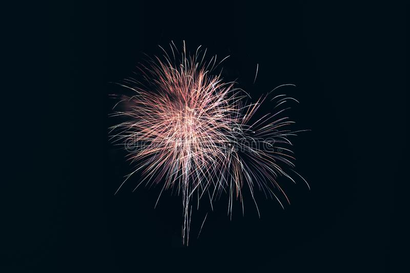 Colorful fireworks explosion in annual festival royalty free stock photos