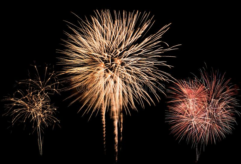 Colorful fireworks explosion in annual festival stock photography