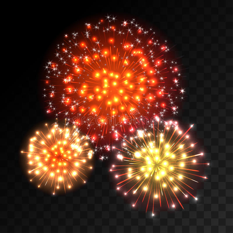 Colorful fireworks explosion on transparent background. Red, orange and yellow lights. New Year, birthday and holiday celebration fireworks on black. Abstract vector illustration