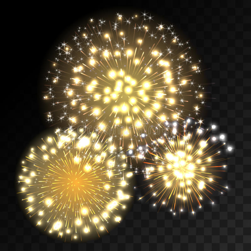 Colorful fireworks explosion on transparent background. White, gold and yellow lights. New Year, birthday and holiday celebration fireworks on black. Abstract vector illustration