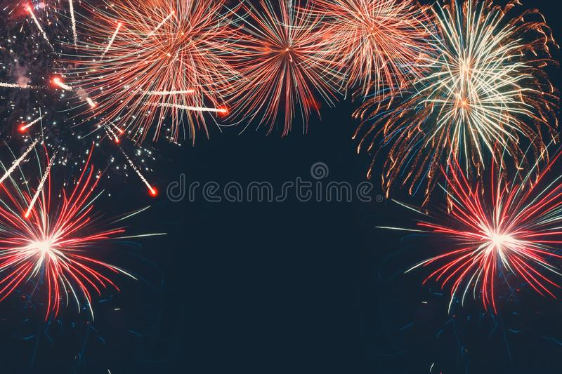 Colorful fireworks in Festival anniversary, New Year Christmas show royalty free stock images