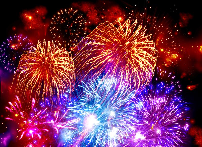 Colorful fireworks, fireworks, holiday, holiday, orange, blue, b vector illustration