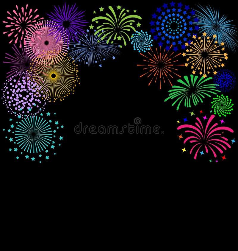 Colorful Fireworks frame on black background. For Celebration Party vector illustration