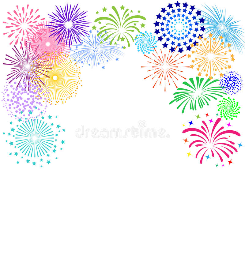 Colorful fireworks frame on white background for celebration party. Colorful fireworks frame on white background vector illustration