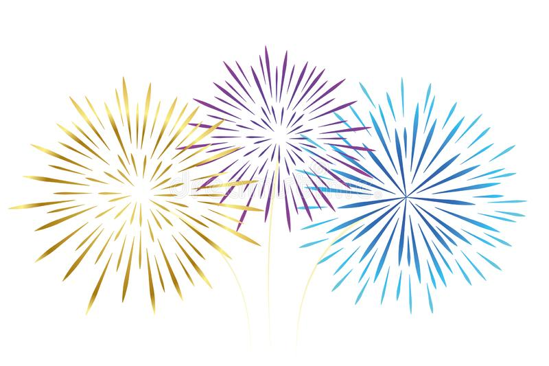 Colorful fireworks gold pink and blue isolated on white background. Vector illustration EPS10 vector illustration