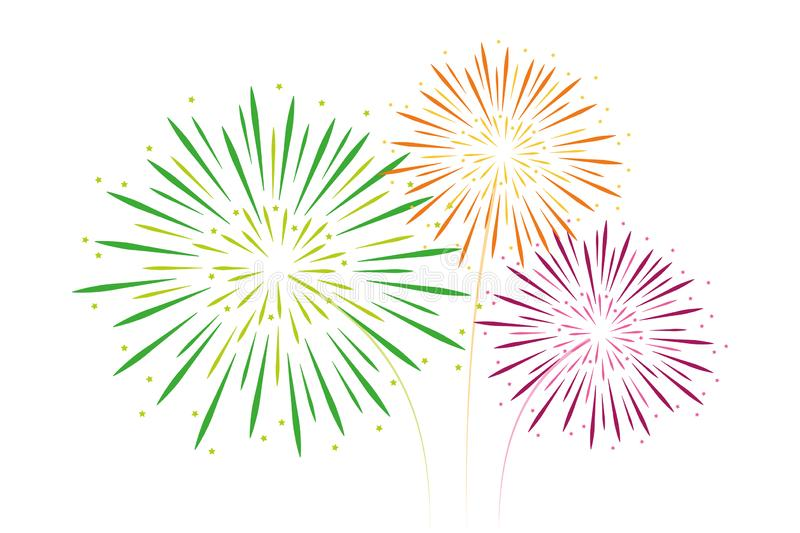 Colorful fireworks green orange and pink isolated on white. Background vector illustration EPS10 stock illustration