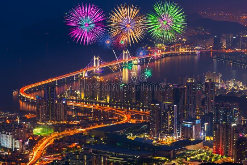 Colorful fireworks and Gwangan Bridge in Busan City , South Korea. Colorful fireworks and Gwangan Bridge in Busan City , South Korea royalty free stock photography
