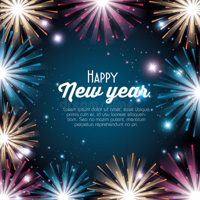 Colorful fireworks happy new year background. Vector illustration graphic design stock photo
