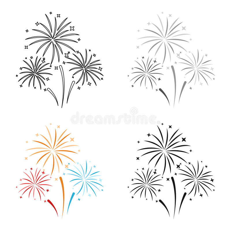 Colorful fireworks icon in cartoon style isolated on white background. Event service symbol stock vector illustration. vector illustration