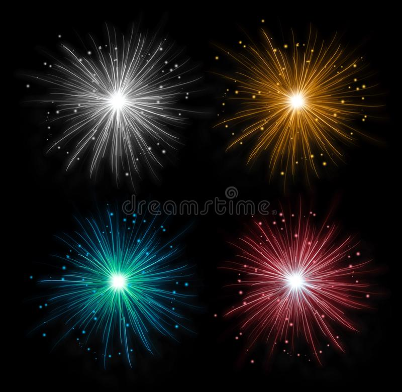 Colorful fireworks isolated in pure dark background. Celebration festive decoration. stock photo