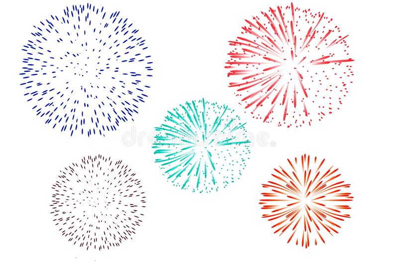 Colorful fireworks isolated on white background. Illustration design. Anniversary, celebration, newcart, abstract, print, circle, happy, year, birthday, style vector illustration