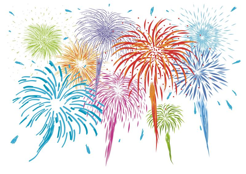 Colorful fireworks isolated on white background. Vector illustration stock illustration
